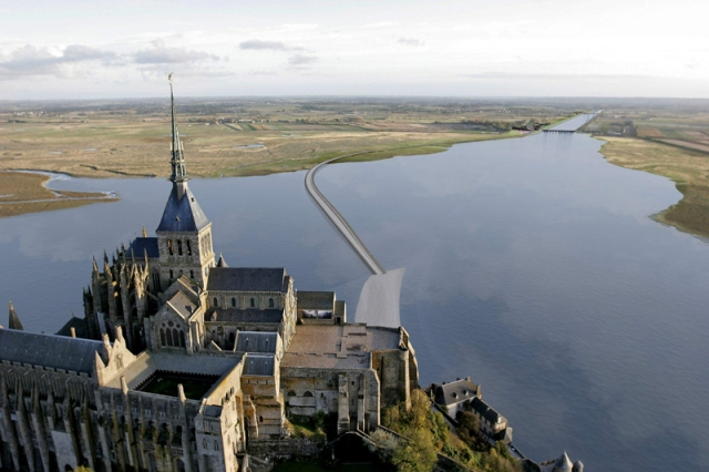 Looking over Mont St Michel and up the Couesnon River.
