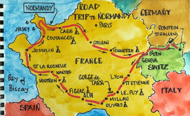 Our route across France.
