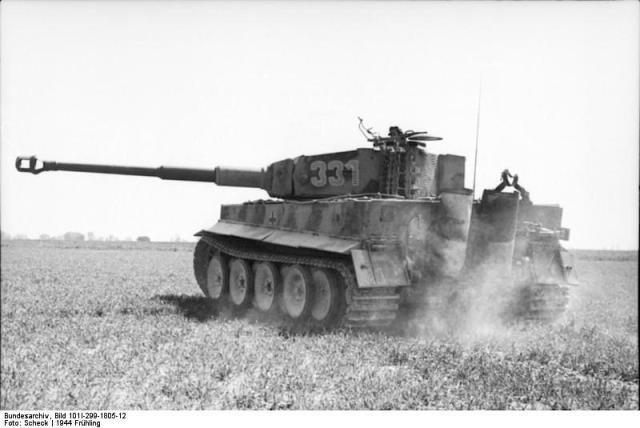 A formidable German Panzer Tiger tank in the fields of France. Image credit Bundersarchive.
