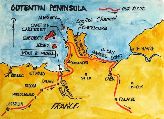 Map showing the Channel Isles and the Cotentin Peninsula