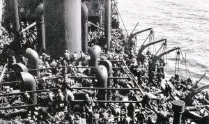 Troop evacuation on SS Guinean during operation Ariel from Port Le Verdon docks.   Image via Wikipedia.