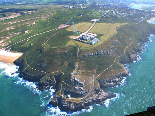 Aerial view of the Cape Carteret Light, a shipping movements observation post.
