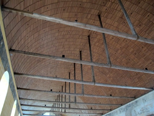 The curved ceiling inside the hospital.