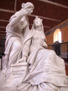 Another fine marble sculpture within the hospital, that of the tomb of Marguerite of Burgundy.