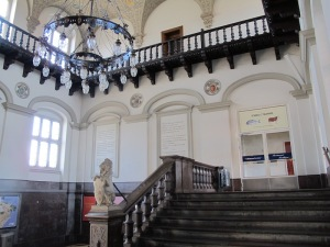 Inside Helsingor railway station.  The station was built during the grand elegant years of steam train travel.