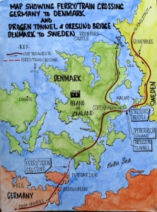 Germany, Denmark and Sweden border crossings detail.