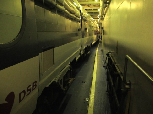 The Copenhagen-bound train in the hold of the Prins Richard vehicular ferry.