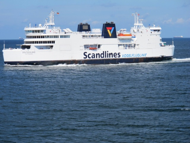 The ferry Deutschland Puttgarden, a similar vessel to the Prins Richard on which we and our train crossed the strait.