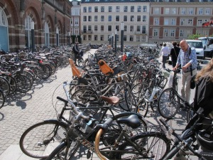 Section of the bicycle parking lot at Copenhagen station.  I'm standing with bike halfway up the middle isle.
