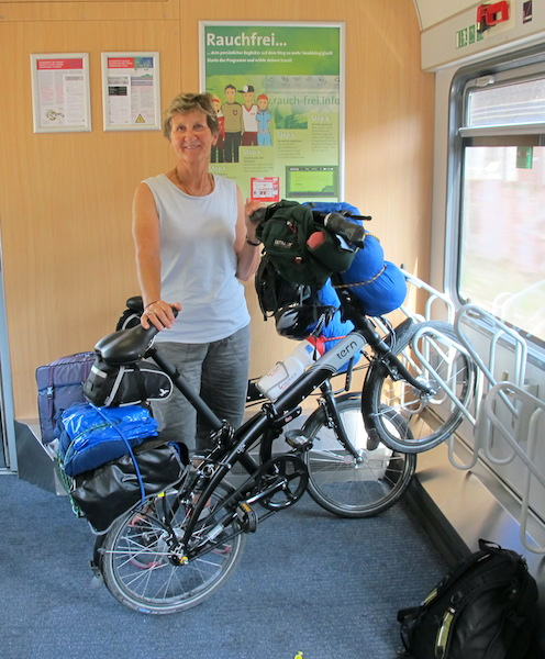 A typical bike rack on a European train.