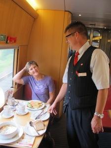 Friendly German waiter on a train trip to Munich.