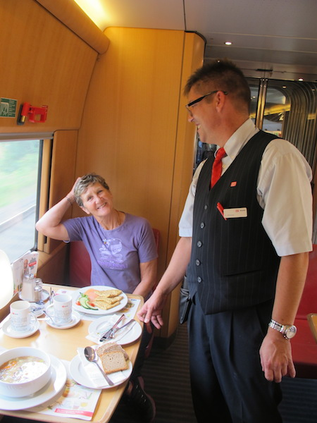 Friendly German waiter on a train trip to Munich.