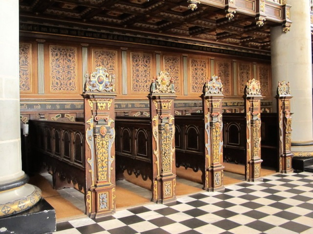 The ornately carved pews in the chapel.