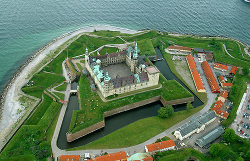 Aerial view of Kronborg Castle via Wikipedia. Image details: Released under GNU Free Documentation Licence H.C. Steensen. Uploader Dr Spcif.