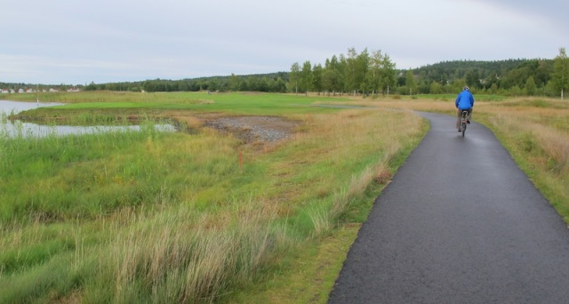 Riding on a bike path in rural Sweden.