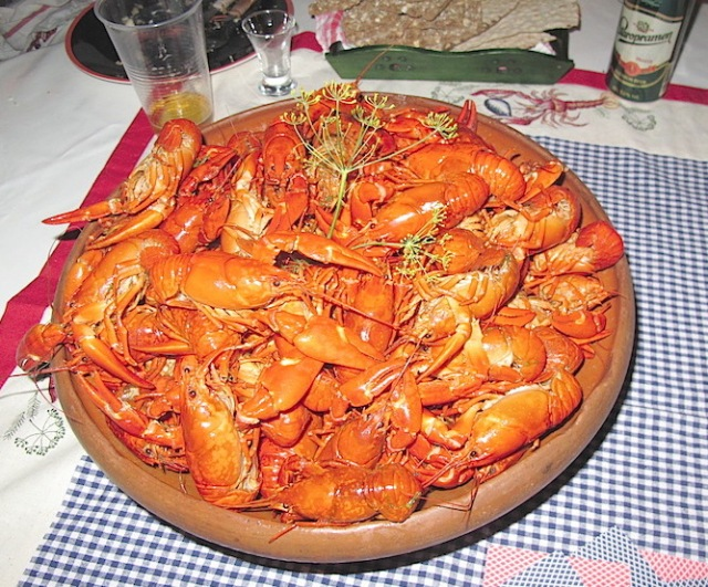 Crayfish prepared for the feast.