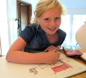 Filippa (8 years), the eldest of Sara and William's three children.