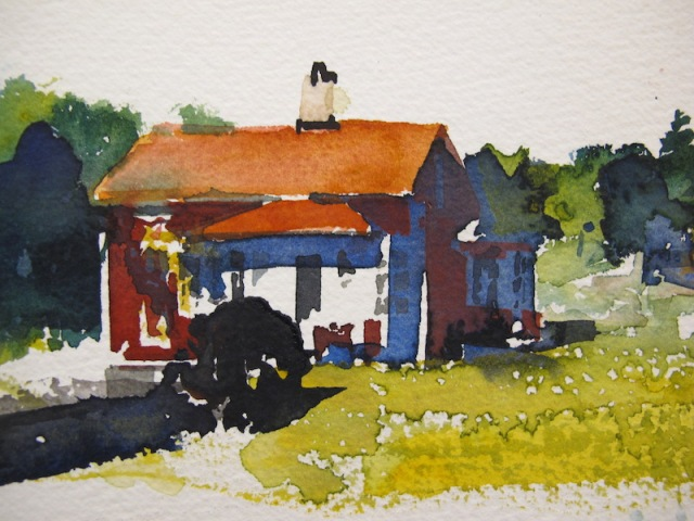 Watercolour painting of a simple Swedish cottage by Lars Lerin.