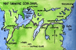 Map showing the Gota Canal running from Goteborg in the west to the Baltic Sea in the east.