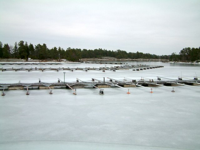 Frozen marina. Vessels have been removed and placed on hard stands for the winter in 2006.