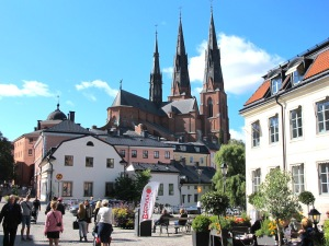 Uppsala Cathedral dominates the city.