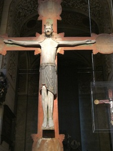 The earliest triumphal cross from the 1200s. The crown Jesus is wearing here tells us he is king.