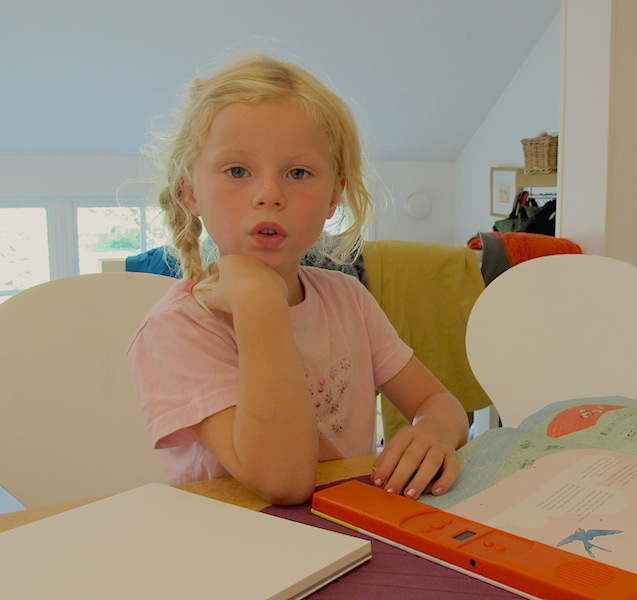 Julia (6 years), William and Sara's youngest daughter. Julia is both artistic and an avid reader.