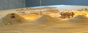 A model of the 'Kings' Mounds'.  The mound on the left shows the 1874 excavation.