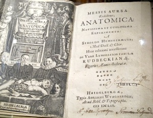 A book on display showing how dissections were done.