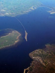 An aerial photograph of Oresund Bridge. Photograph credit: Koosha Paridel via Wikipedia.