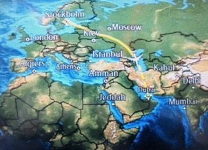 The most boring map in the world, according to some, showing our deviation around the Ukraine.