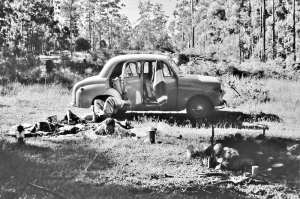 With friends on a camping trip in the early 1950s.
