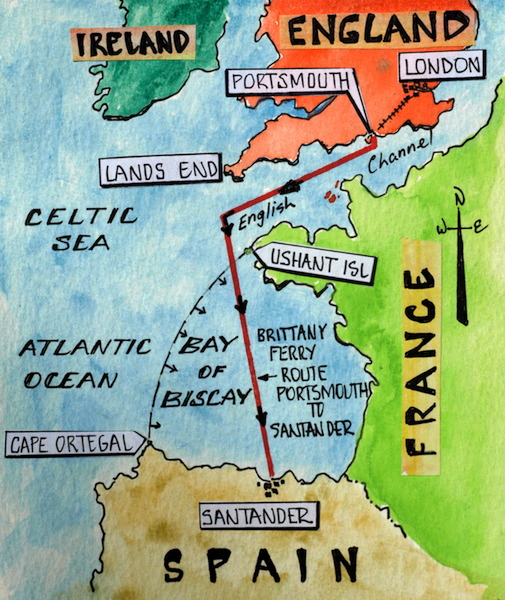 map showing the route london portsmouth to santander spain