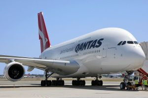 On the tarmac, a QANTAS Airbus A380-842.  Image credit: Darren Koch via Wikipedia