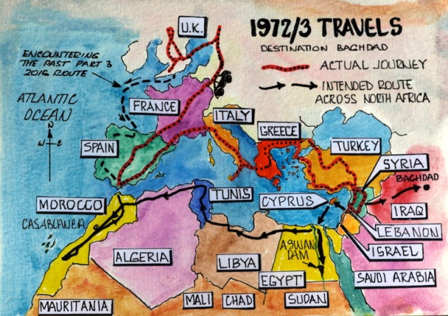 Map showing our 1972/3 journey through Turkey, Syria, Lebanon (red/black dot line) and our intended route (solid black line) across the top of North Africa to Morocco.