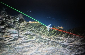 Portion of the inflight map clearly showing Samsun.