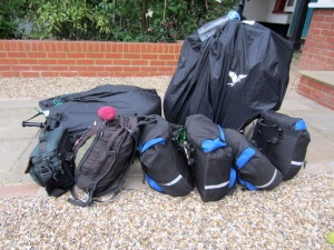 The sum total of our gear: four small paniers, two bikes, two small backpacks and a camera bag.