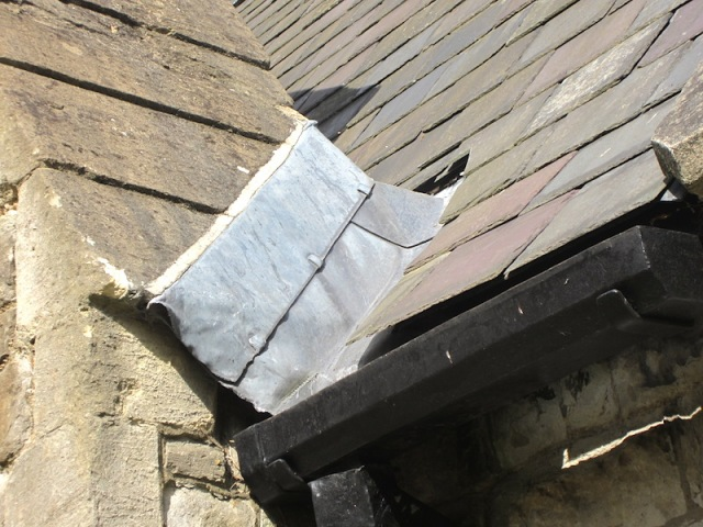 Lead flashing on Christ Church, a temptation to scrap metal hunters.