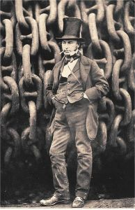 Isambard Kingdom Brunel (1806-1859) by the launching chains for the SS Great Western.  Image free of copyright from Wikipedia.