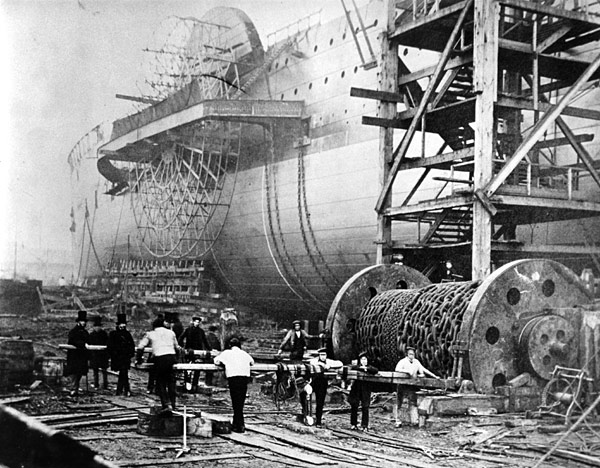 SS Great Eastern just prior to launching 1858. Image in the public domain and via Wikipedia.