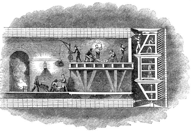 Diagram of Brunel's tunnelling machine. Image in the public domain via Wikipedia.
