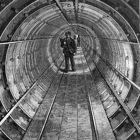 Section of Tower Subway, showing tubular construction with segmental cast-iron rings. Image in the public domain.