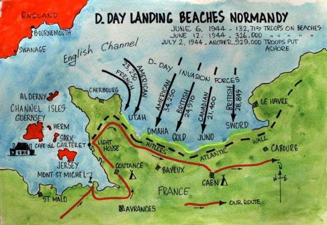 Map from Normandy posting Encountering the Past Part 2 showing the Normandy beaches relative to the English Channel..