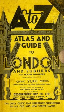 A-Z Atlas circa 1938-1939. Image from Amazon catalogue.