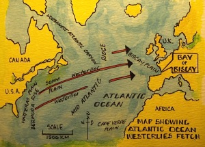 The westerlies that sometimes pound the Bay of Biscay emanate thousands of kilometres away off the coast of America and Canada..