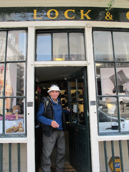 Coming out of the Lock and Co shop. Note my giggle hat, not the sort of item stocked by such a refined provider of hats.
