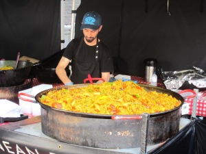 One of the many food stalls, this one selling paella.  Paella is regarded as Spain's national dish.