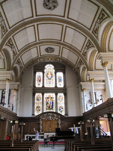 The interior of St James church.