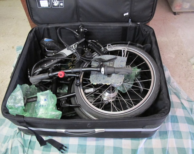 One of our foldup bikes in its case.