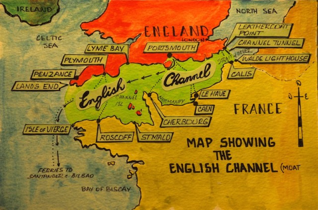 Map showing the start of the journey down the English Channel and into the Bay of Biscay.